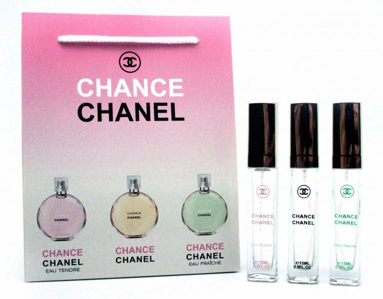Набор Chanel 3 по 15 мл женский (шанс, фреш, тендер)