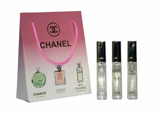 Набор Chanel 3 по 15 мл женский (фреш, коко, №5)